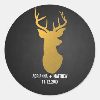 Gold Deer / Antler Chalkboard Wedding Round Sticker