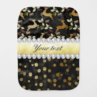 Gold Deer Confetti Diamonds Chalkboard Burp Cloth