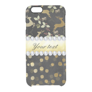 Gold Deer Confetti Diamonds Chalkboard Clear iPhone 6/6S Case