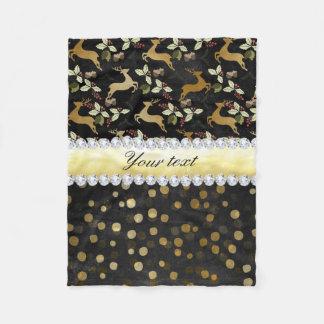 Gold Deer Confetti Diamonds Chalkboard Fleece Blanket
