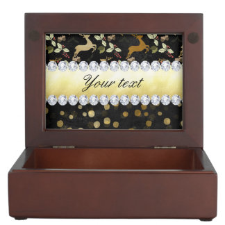 Gold Deer Confetti Diamonds Chalkboard Keepsake Box