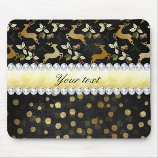 Gold Deer Confetti Diamonds Chalkboard Mouse Pad