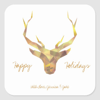 Gold Deer, Holiday Square Sticker