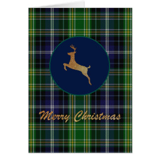 Gold Deer MacKellar Plaid Christmas Greeting Card