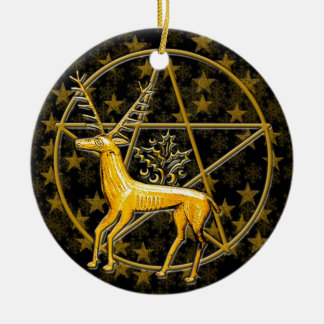 Gold Deer & Pentacle - Double-Sided #1 Ceramic Ornament