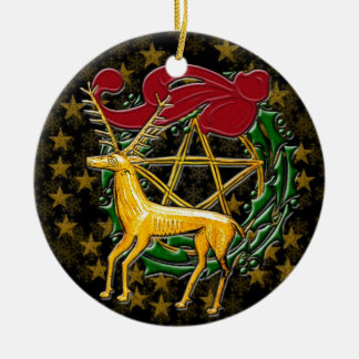 Gold Deer, Wreath, & Pentacle #1 Ceramic Ornament