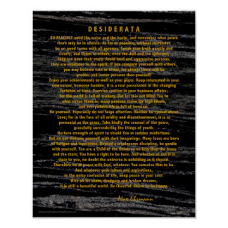 Gold Desiderata on Space Dust Black Marble Poster