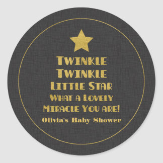 Gold Design Twinkle Little Star Baby Shower Round Sticker