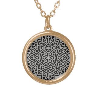 Gold designers necklace with mandala art