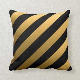Gold Diagonal Stripes Cushion