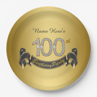 Gold Diamond 100th Birthday Party Paper Plate