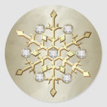 Gold Diamond Christmas Holiday Snowflake Round Sticker