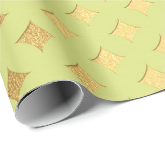 Gold Diamond Cut Bright Mint Canary Peak Heraldic Wrapping Paper