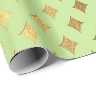 Gold Diamond Cut Bright Mint Green Peak Heraldic Wrapping Paper