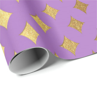 Gold Diamond Cut Bright Purple Peak Heraldic Wrapping Paper