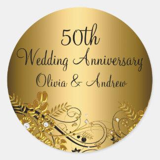 Gold Diamond Floral Swirl 50th Anniversary Sticker