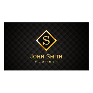 Gold Diamond Monogram Plumbing Business Card