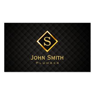 Gold Diamond Monogram Plumbing Business Card