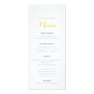 Gold Diamond on White Wedding Menu Template Card