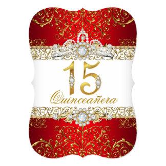 Gold Diamond Red Glamour Quinceanera Invitation