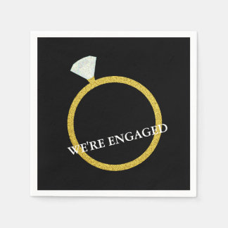 Gold Diamond Ring Engagement Party Napkin Disposable Napkins