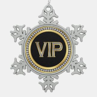 Gold Diamond VIP Christmas Pewter Snowflake Decoration