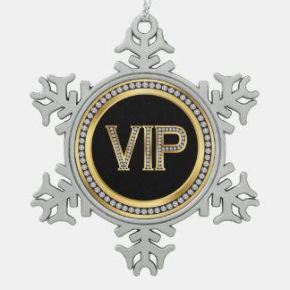 Gold Diamond VIP Christmas Snowflake Pewter Christmas Ornament