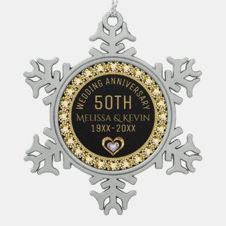 Gold Diamonds 50th Wedding Anniversary Template Snowflake Pewter Christmas Ornament