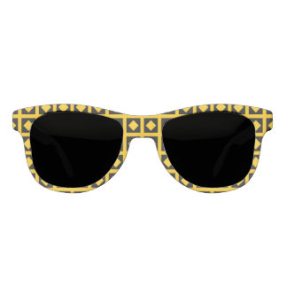 Gold Diamonds and Black Squares Sunglasses