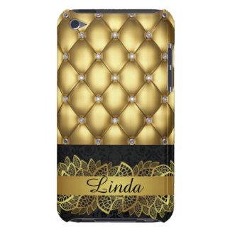 Gold Diamonds Black Pattern Print Design iPod Touch Case