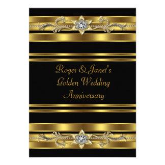 Gold Diamonds Elegant 50th Wedding Anniversary Custom Invitation