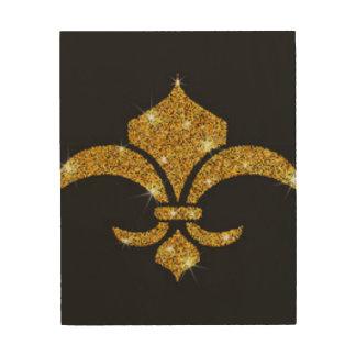 Gold Diamonds Fleur De Lis Wood Wall Decor