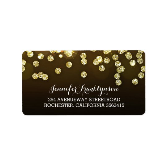 Gold Diamonds Glitter Wedding Label