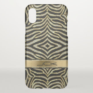 Gold & Diamonds Glitter Zebra Animal Pattern iPhone X Case