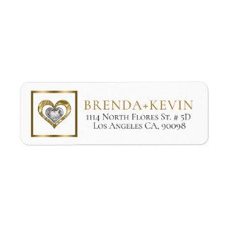 Gold & Diamonds Heart Illustration Return Address Label