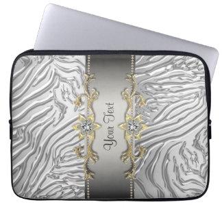 Gold Diamonds Silver Zebra Laptop Sleeve