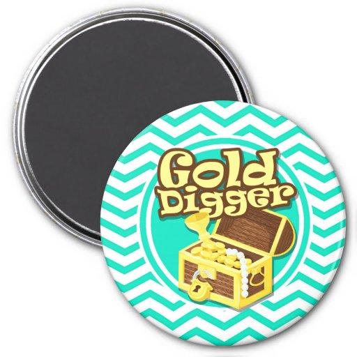 Gold Digger; Aqua Green Chevron Refrigerator Magnet