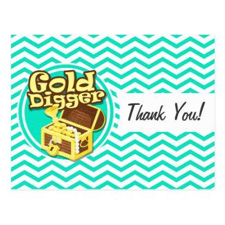 Gold Digger; Aqua Green Chevron Postcards
