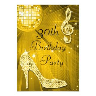 Gold Disco Ball and Heels 30th Birthday 13 Cm X 18 Cm Invitation Card
