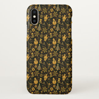 Gold Ditzy Christmas Characters | iPhone X Case