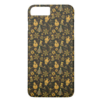 Gold Ditzy Christmas Characters | Phone Case