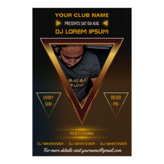 Gold DJ Music and Dance Gig add photo and logo Poster
