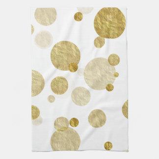 Gold Dot Faux Foil Sequin Bokeh Background Dots Tea Towel