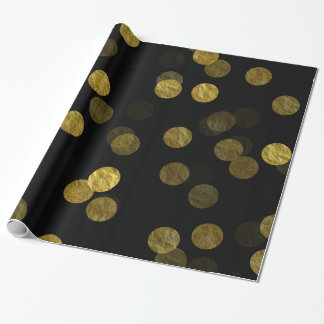 Gold Dot Faux Foil Sequin Bokeh Background Dots Wrapping Paper