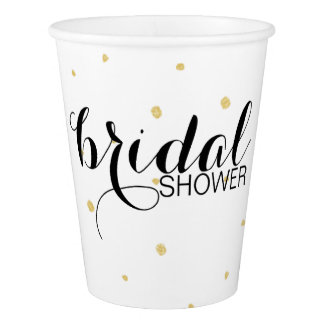 Gold Dots bridal shower Paper Cups