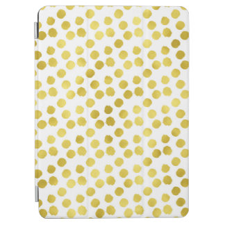 Gold Dots Faux Foil Metallic White Background iPad Air Cover