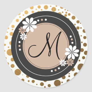 Gold Dots Monogram Stickers:Floral Frame Round Sticker