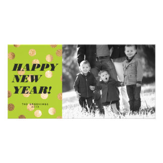 Gold Dots on Lime Green Type Happy New Year Card Photo Card