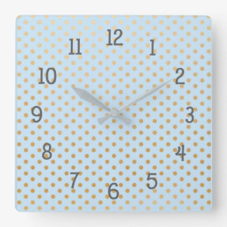 Gold dots on pale blue bedroom nursery clock