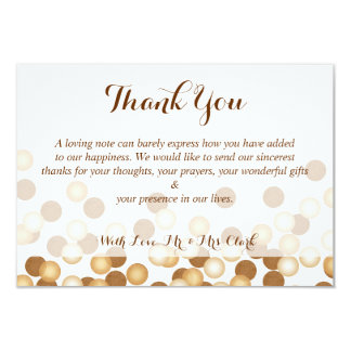 Gold Dots on White Thank you Card